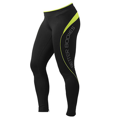 BetterBodies Fitness Long Tights - Black/Lime Detail 1